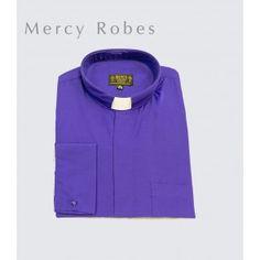 Mercy Robes Mens Long Sleeves Roma Tonsure Collar Clergy Shirt Burgundy