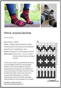 Ravelry: Hilma-kirjoneulesukat pattern by Annika Levänen Knitting Videos, Knitting Charts, Knitting Projects, Knitting Patterns, Crochet Socks, Knitting Socks, Hand Knitting, Knit Crochet, Woolen Socks