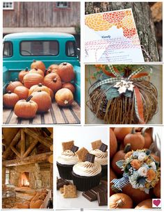 A cozy country pumpkin wedding inspiration board incorporating lots of cozy, rustic charm and colors of orange and teal.