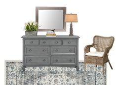 Blue Cottage Guest Bedroom Makeover Plans | blesserhouse.com - A before tour and full design plan with sources for a blue cottage style guest bedroom makeover along with a few solutions to work within a small budget.
