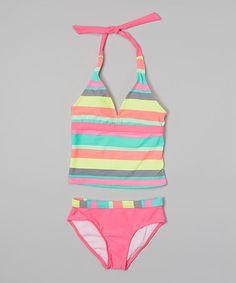 Look what I found on #zulily! Hot Pink Fiji Stripe Tankini - Girls by Happy Kids for Kids #zulilyfinds