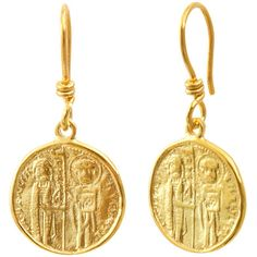 Byzantine Dangle Earrings Solid 18K Yellow Gold Earrings Hook Earrings... (855 CAD) ❤ liked on Polyvore featuring jewelry, earrings, 18k earrings, dangle earrings, yellow gold earrings, long gold earrings and gold jewelry