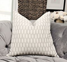 Gray & Off White Ikat Pillow Cover - Grey and Off White Woven Moroccan Pillow Cover - Designer Ash Gray Natural Southwest Home Decor