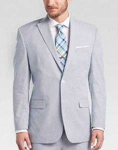 Lauren by Ralph Lauren Blue & White Pin Cord Classic Fit Suit - Mens Suits  - Men's Wearhouse