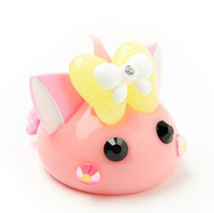 Pink Butterfly Ribbon Hoppe-chan with Cat Ears Objet d'art (White)