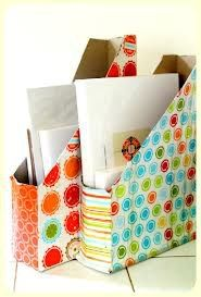 Cut cereal boxes and cover with contact paper. Easy organizers! And recycling!
