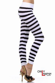 Full Length Striped Seamless Leggings - $20