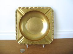 Square solid brass bamboo ashtray on Etsy, $34.00