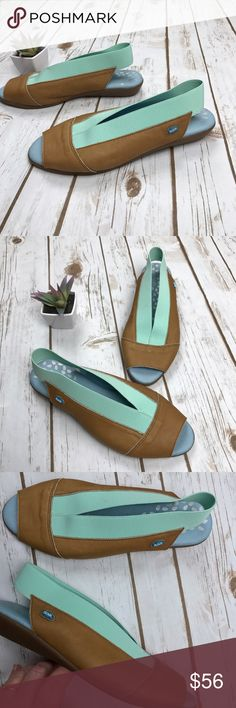 """CLOUD Tan Leather Teal Elastic Slingback Wedge Nearly New CLOUD Tan Leather Teal Elastic Slingback Mini Wedge Sandals, Sz 7/37. Fabulous and comfy summer sandals with cushioned soles and super stretchy slingback.  1"""" Wedge heel, rubberized soles. No flaws or signs of wear. Cloud Shoes Sandals"""