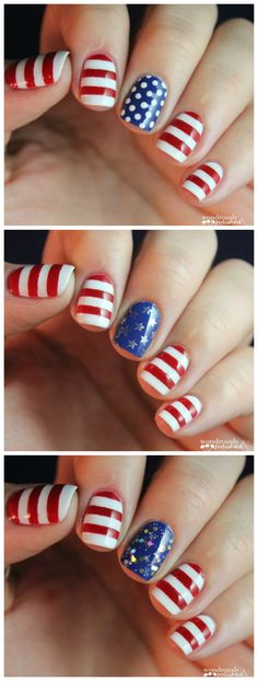 Red White and Cute Nails from Wondrously Polished - #ManicureMonday
