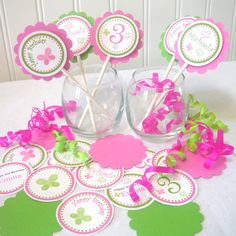 This is the right color scheme and cute design.  Butterfly Cupcake Topper KIT you assemble (18 pcs). $12.00, via Etsy.