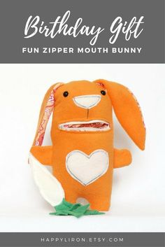 Cute birthday gift for girls and boys. bunny plush with zipper mouth, the bunny eats carrot, bunny rabbit plush toy, bunnt toy. Handmade by Liron Shebs at HappyLI, To order contact me through Etsy. Internetional shipping is available. You may order different colors or add the baby's name. Custom order is available, See also HappyLiron.etsy.com