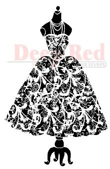 Deep Red Stamps - Cling Stamp - Dress Form Flourish