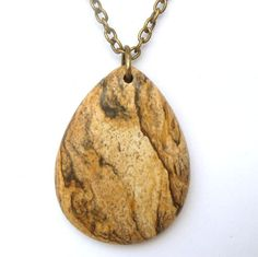 Antiqued Brass Picture Jasper Teardrop Pendant Necklace. $9.99, via Etsy.