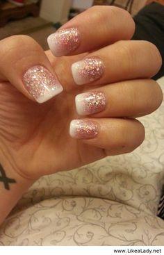 white french over glitter nails