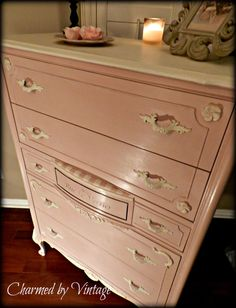 Vintage French Pretty in Pink Chest of Drawers by Charmed By Vintage. Annie Sloan Chalk Paint (Antoinette and Old White) Hand Painted Furniture, Paint Furniture, Furniture Making, Furniture Makeover, Pink Chest Of Drawers, Pink Chests, Shabby Vintage, Colorful Furniture, Painting Cabinets