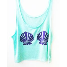 Mint Mermaid Crop Top Clamshell The Little Mermaid Coachella Tank Top... ($30) ❤ liked on Polyvore