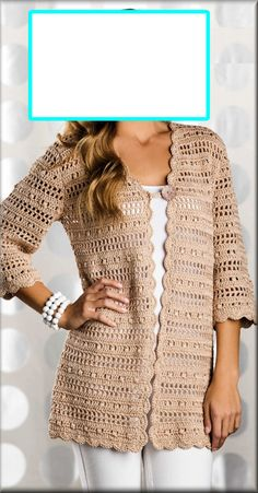 Uptown Chic Cardigan By Omaima Hassan - Free Crochet Pattern… Double-crochet clusters alternate with filet -crochet rows to create the lacy striped pattern in this city-chic cardigan. Design by Laura Gebhardt Supplies Omega Sinfonia fine (sport) weight Gilet Crochet, Crochet Cardigan Pattern, Crochet Jacket, Crochet Poncho, Crochet Patterns, Crochet Sweaters, Knitting Patterns, Crochet Vests, Crocheted Lace