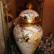 Limoges Superb Huge Footed Urn/Vase with Reticulated Lidded, Red/Yellow/Pink Roses and Incredi