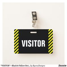 "Shop ""VISITOR"" + Black & Yellow Stripes Badge created by AponxDesigns. Yellow Stripes, Black N Yellow, Badge Design, Messages, Badges, Pattern, Gifts, Nice, Style"