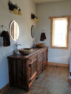 Heritage Collection Reclaimed Wood Vanity with Copper Sink