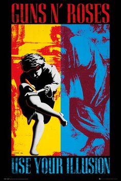 Guns N' Roses Use Your Illusion Poster – BananaRoad Guns And Roses, Music Wallpaper, Rose Wallpaper, Use Your Illusion I, Rock Tumblr, Rock Vintage, Rock Band Posters, Poster Wall, Rock Bands