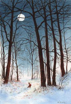 fox in moonlight