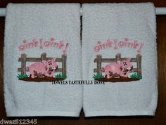 OINK, OINK PIG SET OF BATH HAND TOWELS-TOO CUTE