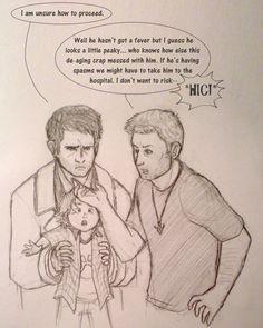 Dean and Cas raising a Dr aged Sam. God my heart Supernatural Fandom, Supernatural Cartoon, Supernatural Drawings, Spn Memes, Dean And Cas, Fanart, Angels And Demons, Superwholock, Winchester