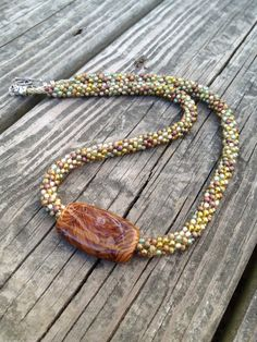 Kumihimo Beaded Necklace with Lampwork Focal by ChuraumiSeaGlass, $49.00