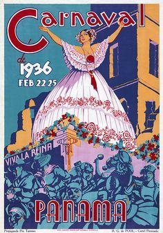 Panama Carnaval, travel poster, 1936