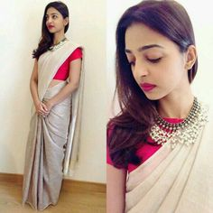 "Actress Radhika Apte in Anavila saree at I View world festival. The ""Kabali"" actress looks beautiful in pastel saree with red blouse. - long sleeve shirt blouse, pink and white blouse, navy striped blouse *ad Simple Sarees, Trendy Sarees, Stylish Sarees, Saree Blouse Patterns, Saree Blouse Designs, Dress Patterns, Indian Dresses, Indian Outfits, Sari Bluse"