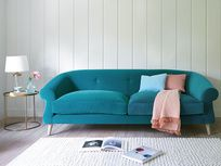 Weve taken an old-school design and updated it with a load of extra squish for some serious loafing comfort. Shown here in Pacific clever velvet. Chaise Sofa, Sofa Chair, Loaf Sofa, Velvet Sofa, Sofa Design, Home Living Room, Sofas, Love Seat, New Homes
