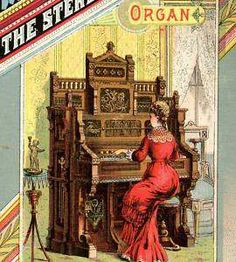 """A well-dressed American Gilded Age society lady, is featured in this c.1880s advertisement illustration. She is playing a musical selection on, """"The Sterling"""" brand of organs. ~ {cwlyons}"""
