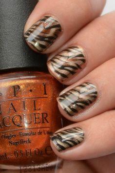 Tiger stripe nail art perfect for tournament time neat nail art designs finditforweddings animal print nails tiger stripe prinsesfo Choice Image