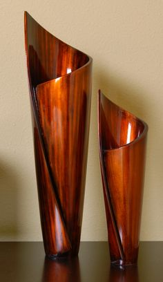 """Paper Vases"" - Free Form Wood Sculpture Set; redwood, Daryl Stokes"