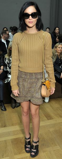 Leigh Lezark is cool and chic as she arrives at the Fall-Winter 2015 runway in a look from our Fall 2015 collection