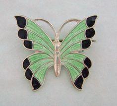 Vintage MEKA Sterling Silver Enamel Butterfly Pin