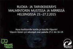★ Mysterious Black ★ Malmintorin Musti ja Mirri -myymälässä Helsingissä on meneillään keräys Viipurin kodittomien koirien ja kissojen hyväksi. Keräyspisteeseen voi viedä ruokaa ja tarvikkeita 23.-27.2. välisenä aikana. Yhdistyksen kaksi- ja nelijalkaiset edustajat ovat paikalla perjantaina 27.2. klo 16-19. Lämpimästi tervetuloa! https://www.facebook.com/viipurinkoirat/photos/a.233350090019643.57480.214244135263572/896358380385474/?type=1&theater