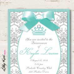 Quinceanera Invitations Sweet 16 Sweet 15 by LibbyKateSmiles Sweet 15 Invitations, Quince Invitations, Quinceanera Invitations, Wedding Invitation Cards, Custom Invitations, Invitation Wording, Shower Invitations, Invite, Quinceanera Traditions