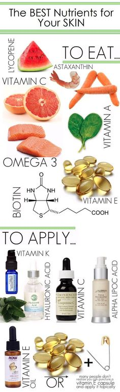 10 Best Nutrients for Skin Health. (Pic) -------- With Bonus:  Best Foods to Eat for Healthy Skin (Link)