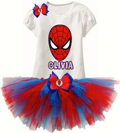 Spiderman Tutu SET - (Add Your Name) Logan�s Locker Layla's Runway specializes in creating unique personalized apparel and accessories with a great look for your little boys or girls of all ages. Our personalized apparel products make great personalized gift ideas for friends and family and are perfect for new born babies, toddlers, teens birthdays, family reunions, fundraisers, special occasions.