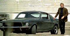 Steve McQueen with the 1968 Ford Mustang Fastback from Bullitt Ford Mustang Gt, Mustang Bullitt, 1968 Ford Mustang Fastback, Mustang Cars, Mustang 1964, Dodge Charger, Ford Motor Company, Aston Martin, Steve Mcqueen Bullitt