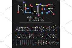 Neuter modern flat font made with dots, good for motion and game design, colorful font isolated on background Russian letters, Cyrillic by ArtBalitskiy on @Graphicsauthor
