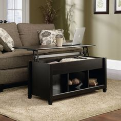 black wood finish lifttop coffee table with bottom storage space