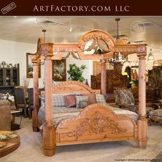 Custom Hand Carved Canopy Bed: Fine Art Designs By H. Nick - the finest quality furniture available anywhere at any price King Platform Bed Frame, Latest Bed, Tree Bed, Canopy Curtains, Canopy Beds, Wood Bed Design, Antique Beds, Wood Headboard, Wood Beds