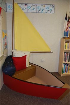 Reading Boat for the Reading Center in my ocean-themed third grade classroom. My dad helped me build this. It wasn't too difficult and the kids absolutely loved it!