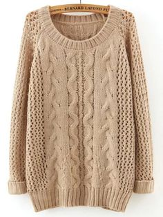 Apricot Round Neck Hollow Cable Knit Sweater 25.41
