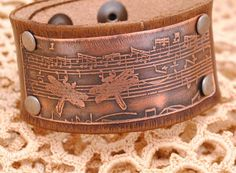 Distressed Leather Bracelet Etched Copper Cuff by QueSarahSera, $35.00