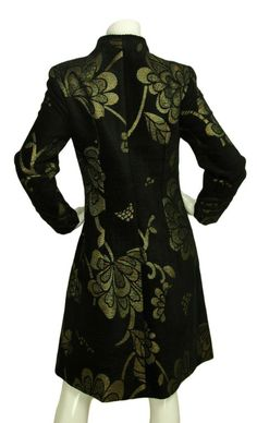 black velvet Brocade jackets | BADGLEY MISCHKA Black and Gold Floral Brocade and Velvet Overcoat Sz ...